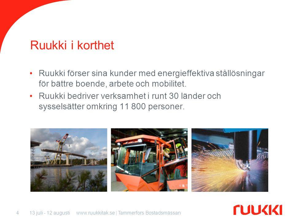 13 juli - 12 augustiwww.ruukkitak.se | Tammerfors Bostadsmässan4 Ruukki i korthet Ruukki förser sina kunder med energieffektiva stållösningar för bätt