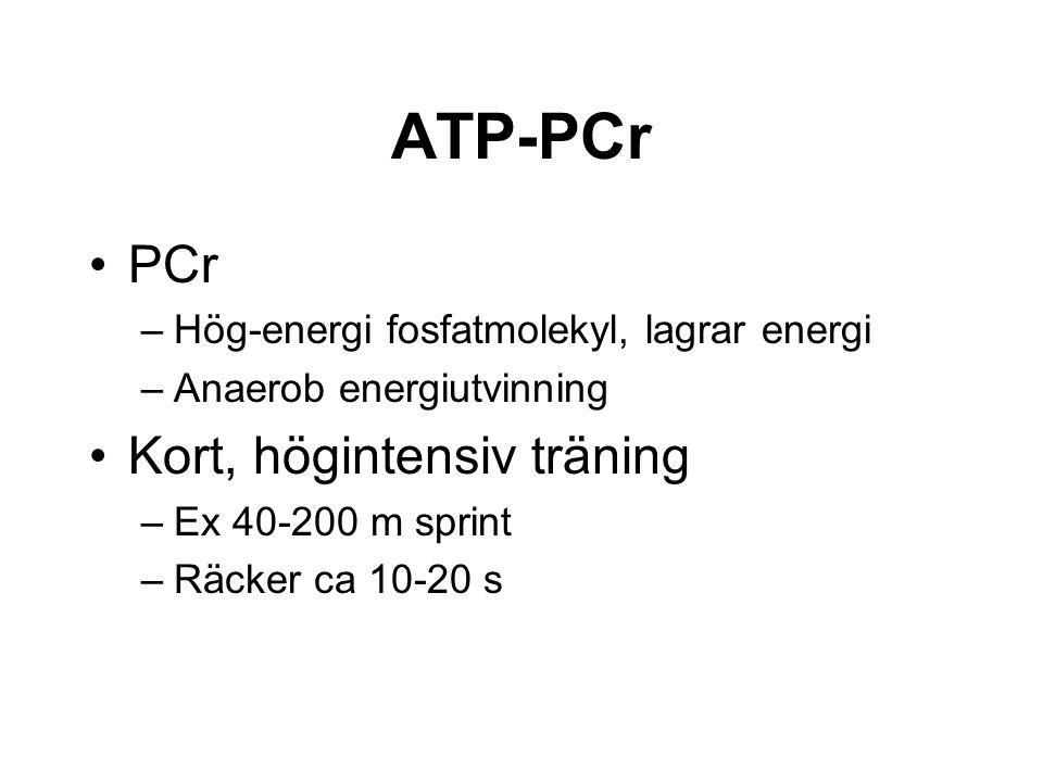 ATP-PCr PCr –Hög-energi fosfatmolekyl, lagrar energi –Anaerob energiutvinning Kort, högintensiv träning –Ex 40-200 m sprint –Räcker ca 10-20 s