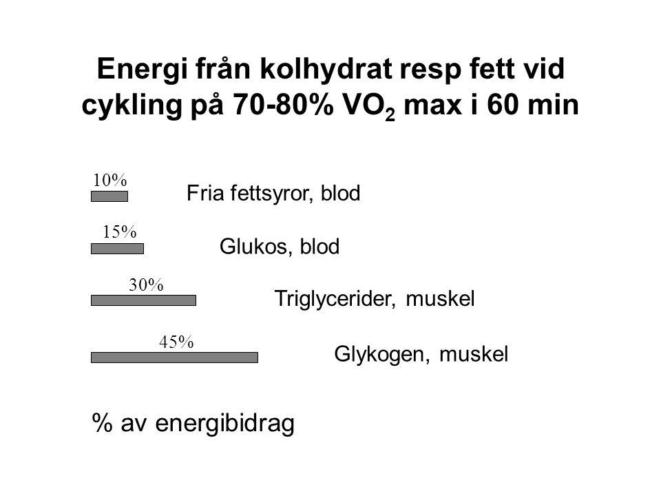 Energi från kolhydrat resp fett vid cykling på 70-80% VO 2 max i 60 min % av energibidrag 10% 15% 30% 45% Fria fettsyror, blod Glukos, blod Triglycerider, muskel Glykogen, muskel