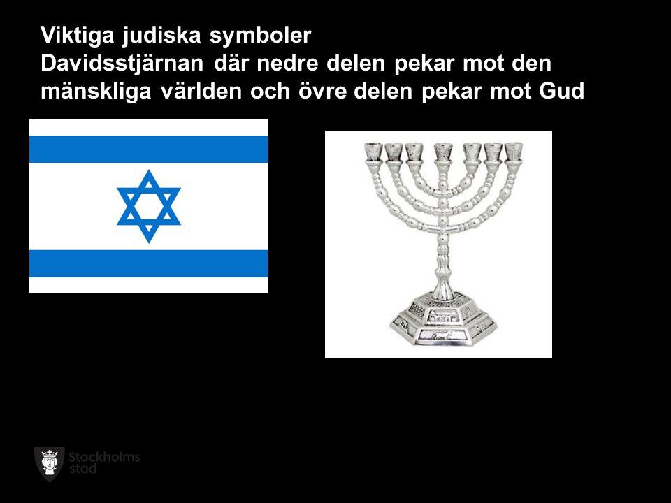 Viktiga judiska symboler Davidsstjärnan där nedre delen pekar mot den mänskliga världen och övre delen pekar mot Gud