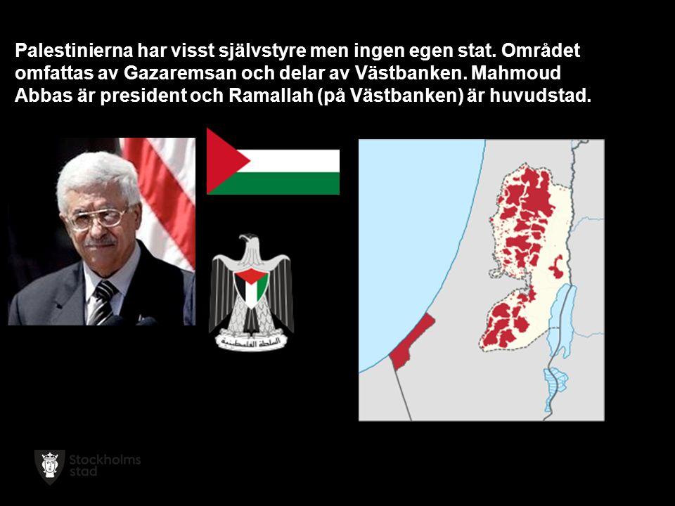 Palestinierna har visst självstyre men ingen egen stat.