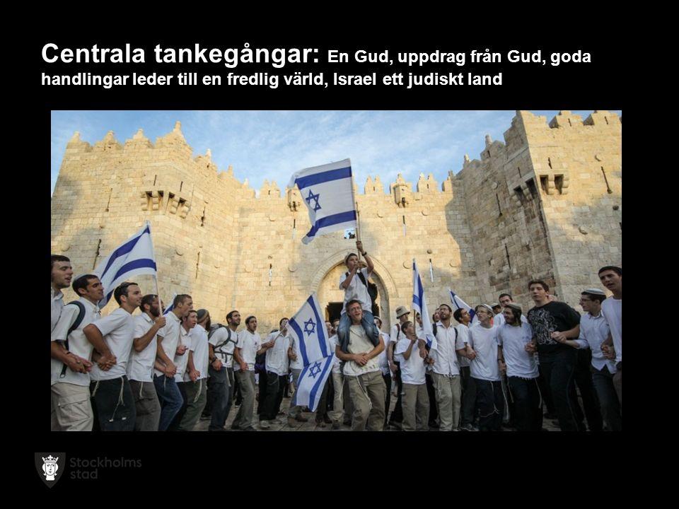 Centrala tankegångar: En Gud, uppdrag från Gud, goda handlingar leder till en fredlig värld, Israel ett judiskt land