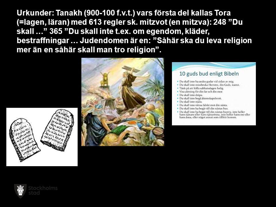 Urkunder: Tanakh (900-100 f.v.t.) vars första del kallas Tora (=lagen, läran) med 613 regler sk.