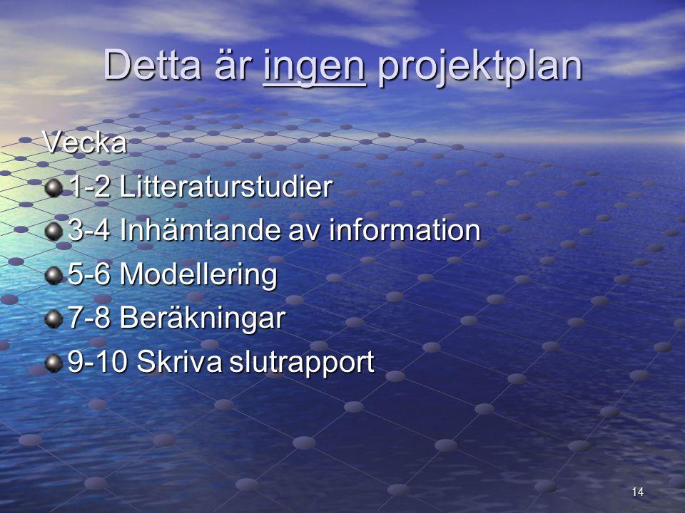 Detta är ingen projektplan Vecka 1-2 Litteraturstudier 3-4 Inhämtande av information 5-6 Modellering 7-8 Beräkningar 9-10 Skriva slutrapport 14