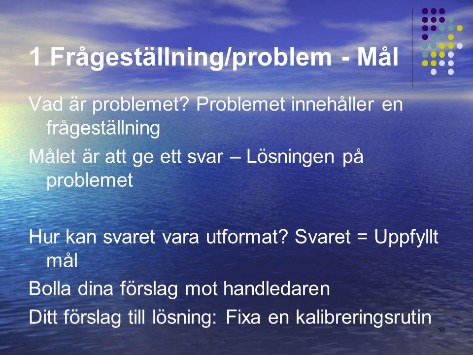 19 1 Frågeställning/problem - Mål Vad är problemet.