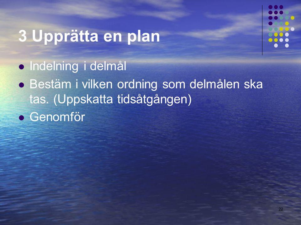 3 Upprätta en plan Indelning i delmål Bestäm i vilken ordning som delmålen ska tas.