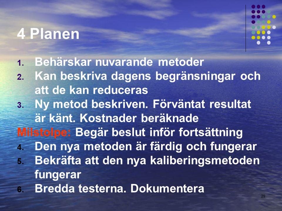 29 4 Planen 1. Behärskar nuvarande metoder 2.