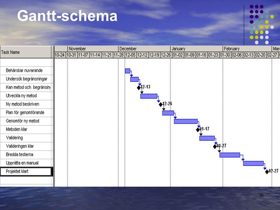 30 Gantt-schema