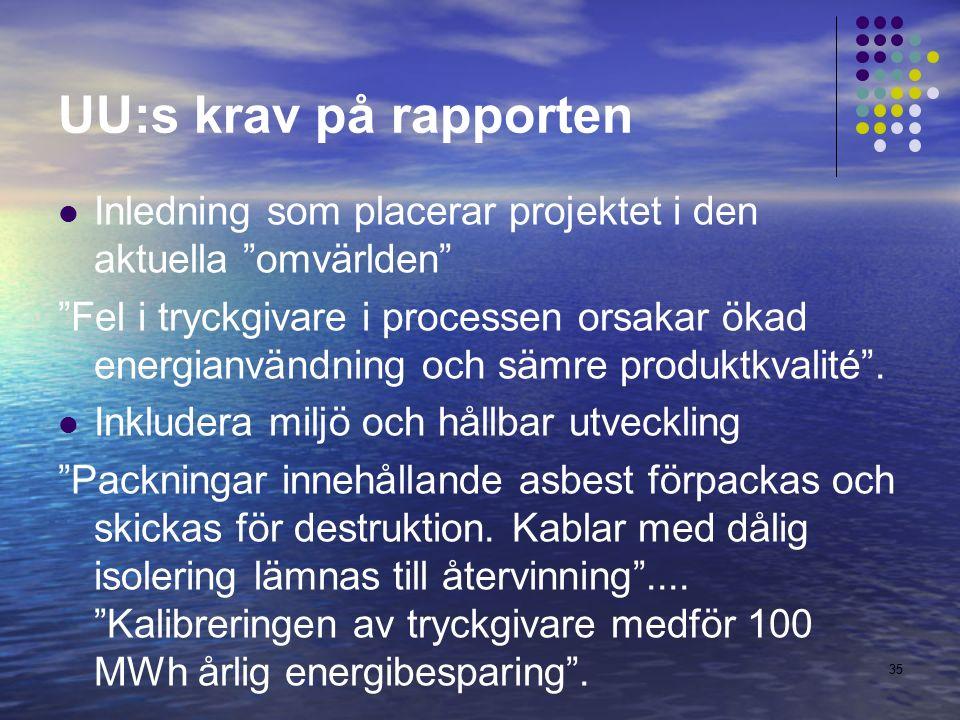 UU:s krav på rapporten Inledning som placerar projektet i den aktuella omvärlden Fel i tryckgivare i processen orsakar ökad energianvändning och sämre produktkvalité .