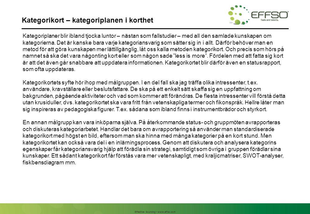 Effective Sourcing www.effso.com Bakgrund – kategoriprofil Befintliga avtal Löpande ramavtal med Xerxes AB Ramavtal med Sigma AB, 1 år kvar Ad hoc köp gör från Beta AB Ad hoc köp görs från Delta AB.