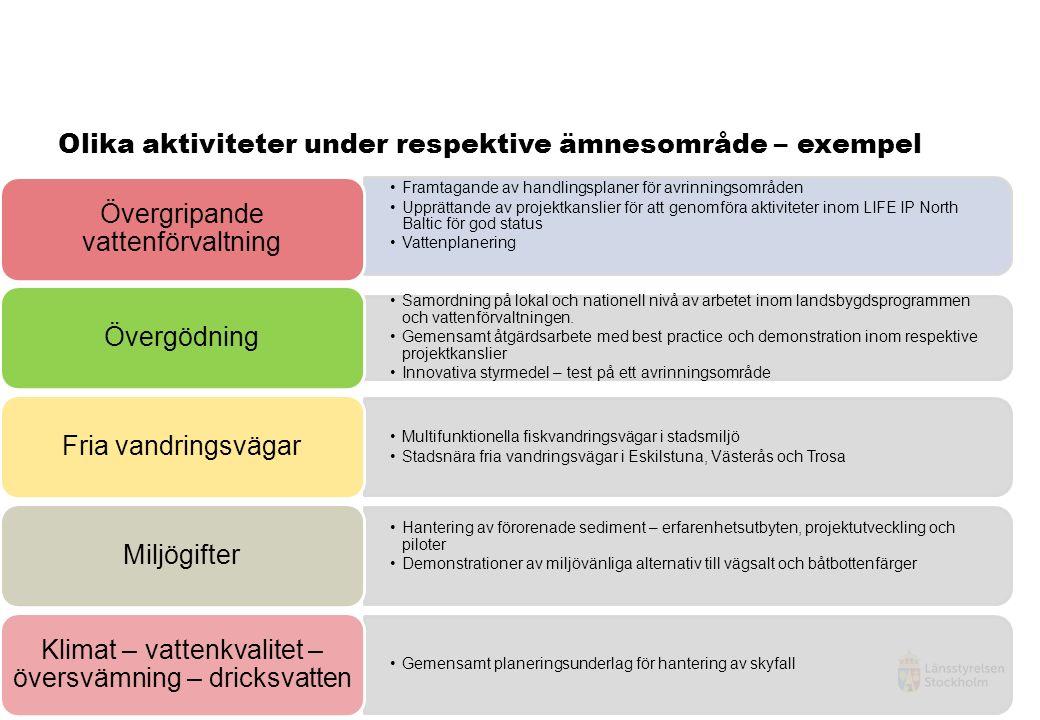 Framtagande av handlingsplaner för avrinningsområden Upprättande av projektkanslier för att genomföra aktiviteter inom LIFE IP North Baltic för god status Vattenplanering Övergripande vattenförvaltning Samordning på lokal och nationell nivå av arbetet inom landsbygdsprogrammen och vattenförvaltningen.