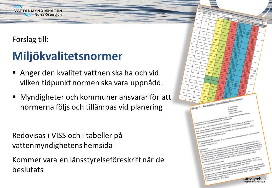 Förslag till: Miljökvalitetsnormer  Anger den kvalitet vattnen ska ha och vid vilken tidpunkt normen ska vara uppnådd.
