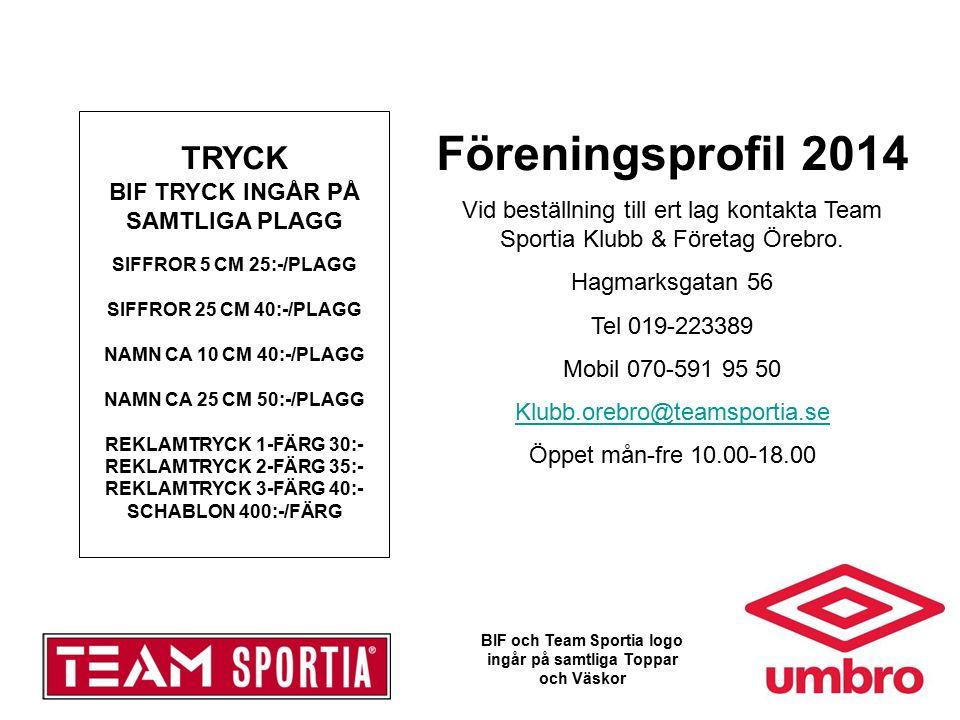 Föreningsprofil 2014 Vid beställning till ert lag kontakta Team Sportia Klubb & Företag Örebro.
