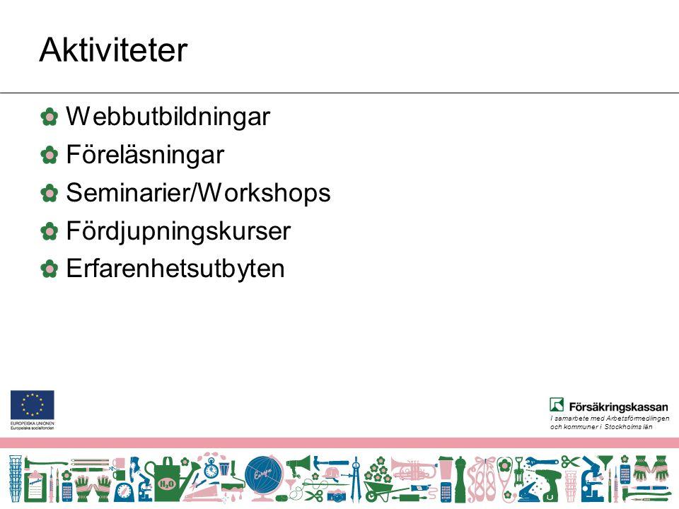 I samarbete med Arbetsförmedlingen och kommuner i Stockholms län Aktiviteter Webbutbildningar Föreläsningar Seminarier/Workshops Fördjupningskurser Erfarenhetsutbyten