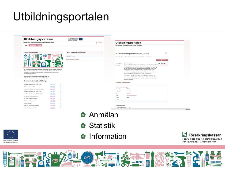 I samarbete med Arbetsförmedlingen och kommuner i Stockholms län Utbildningsportalen Anmälan Statistik Information