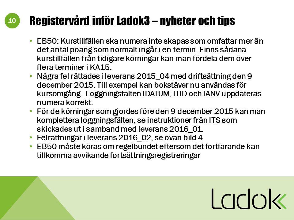 10 Registervård inför Ladok3 – nyheter och tips EB50: Kurstillfällen ska numera inte skapas som omfattar mer än det antal poäng som normalt ingår i en termin.