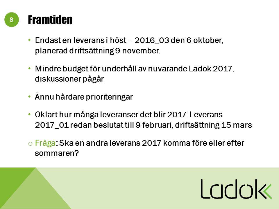 8 Framtiden Endast en leverans i höst – 2016_03 den 6 oktober, planerad driftsättning 9 november.