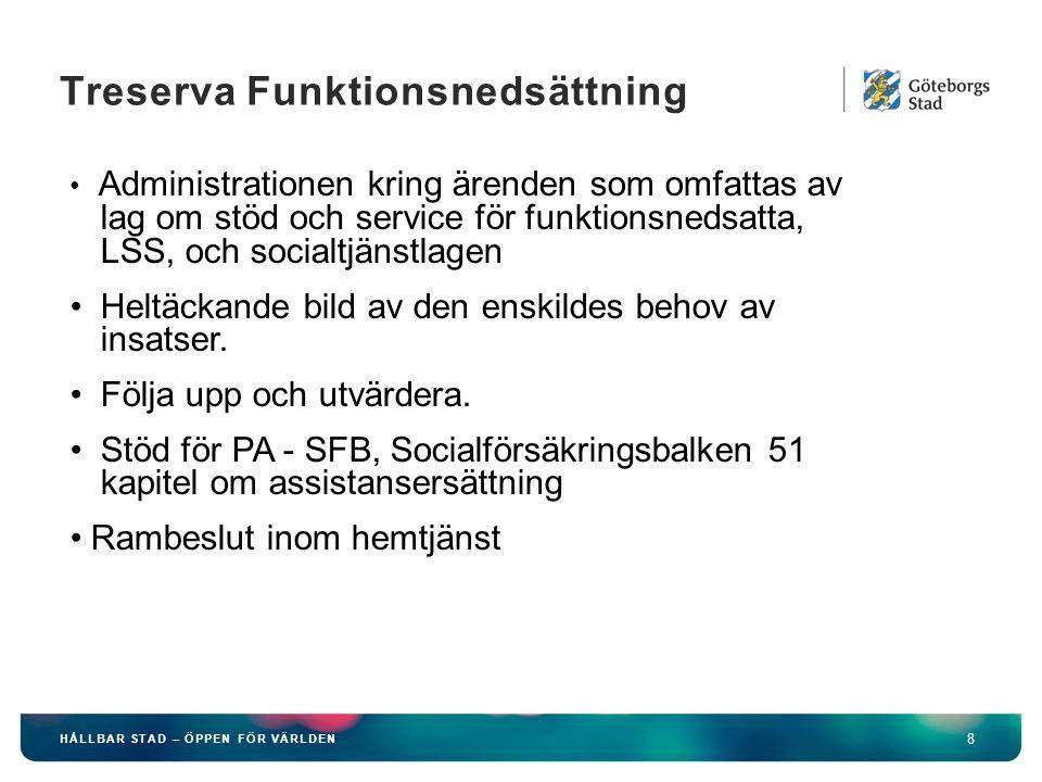 HÅLLBAR STAD – ÖPPEN FÖR VÄRLDEN 9 Treserva Äldreomsorg Stöd för alla delar av äldreomsorgen exempelvis hemtjänst, särskilt boende.