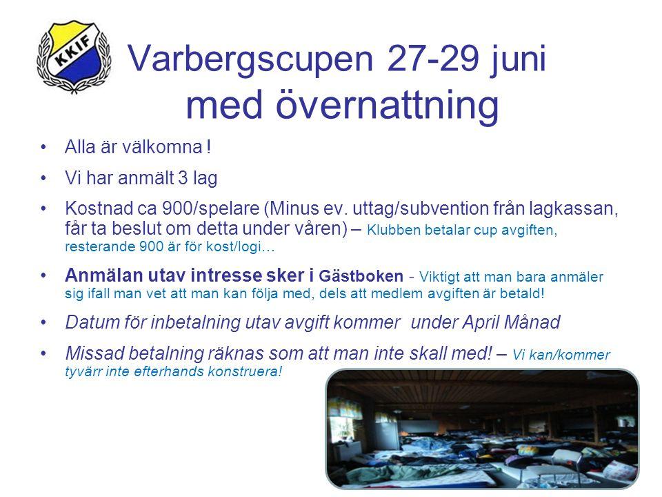 Varbergscupen 27-29 juni med övernattning Alla är välkomna ! Vi har anmält 3 lag Kostnad ca 900/spelare (Minus ev. uttag/subvention från lagkassan, få