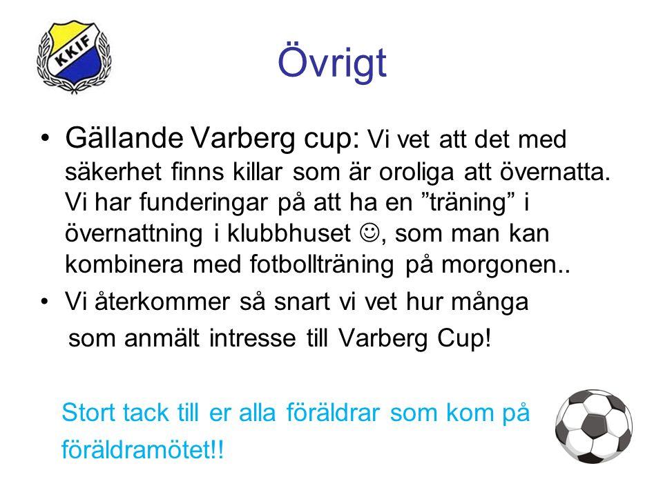 """Övrigt Gällande Varberg cup: Vi vet att det med säkerhet finns killar som är oroliga att övernatta. Vi har funderingar på att ha en """"träning"""" i överna"""