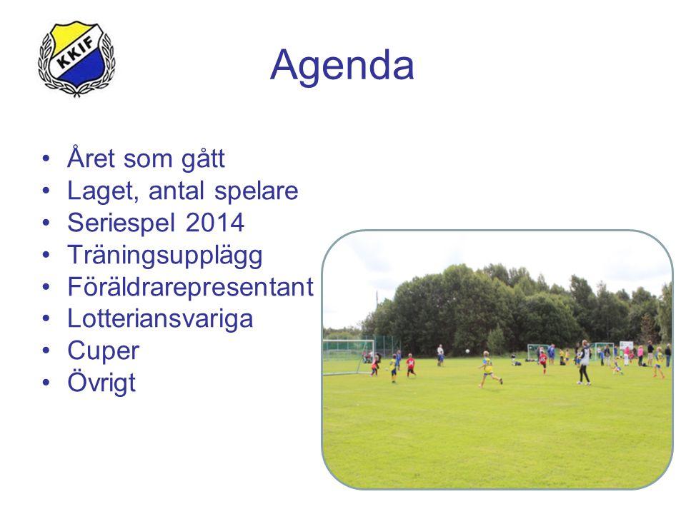 Agenda Året som gått Laget, antal spelare Seriespel 2014 Träningsupplägg Föräldrarepresentant Lotteriansvariga Cuper Övrigt
