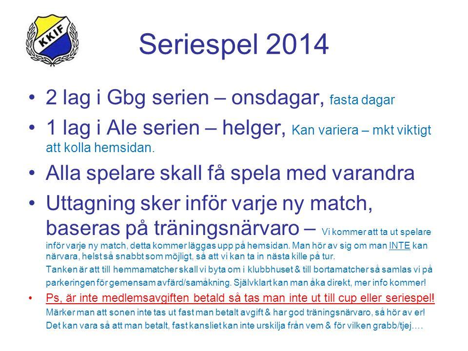 Seriespel 2014 2 lag i Gbg serien – onsdagar, fasta dagar 1 lag i Ale serien – helger, Kan variera – mkt viktigt att kolla hemsidan. Alla spelare skal