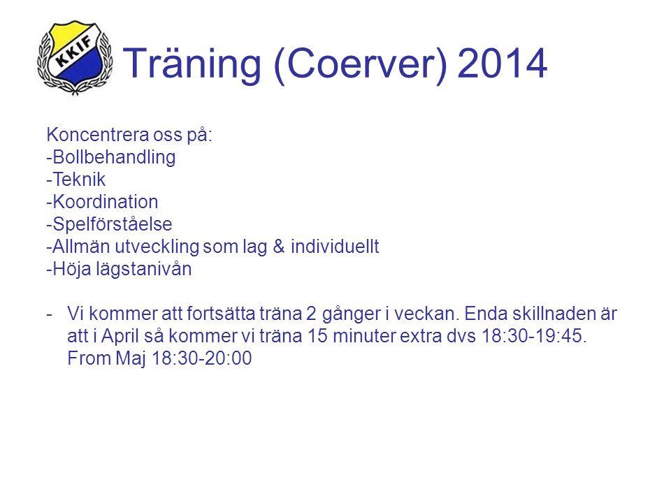Träning (Coerver) 2014 Koncentrera oss på: -Bollbehandling -Teknik -Koordination -Spelförståelse -Allmän utveckling som lag & individuellt -Höja lägstanivån -Vi kommer att fortsätta träna 2 gånger i veckan.