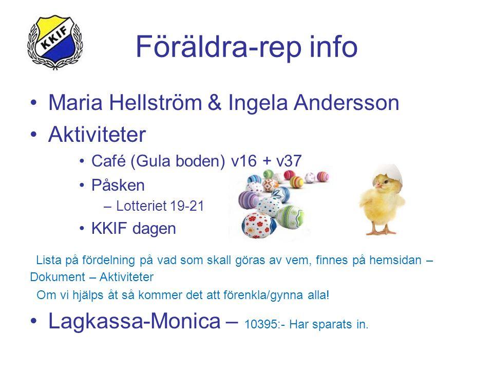 Föräldra-rep info Maria Hellström & Ingela Andersson Aktiviteter Café (Gula boden) v16 + v37 Påsken –Lotteriet 19-21 KKIF dagen Lista på fördelning på