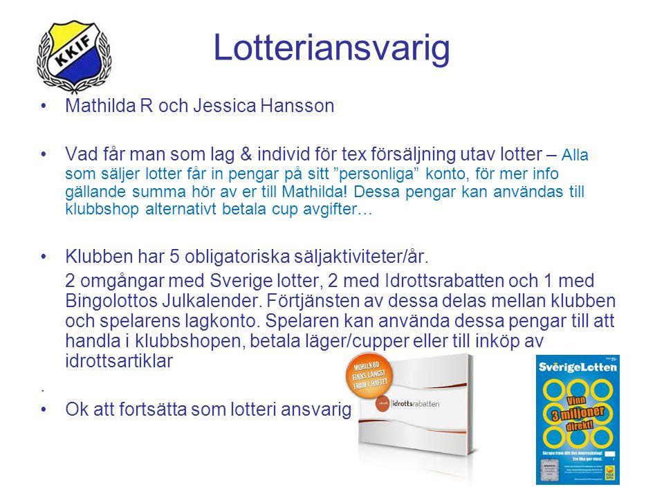 Lotteriansvarig Mathilda R och Jessica Hansson Vad får man som lag & individ för tex försäljning utav lotter – Alla som säljer lotter får in pengar på sitt personliga konto, för mer info gällande summa hör av er till Mathilda.