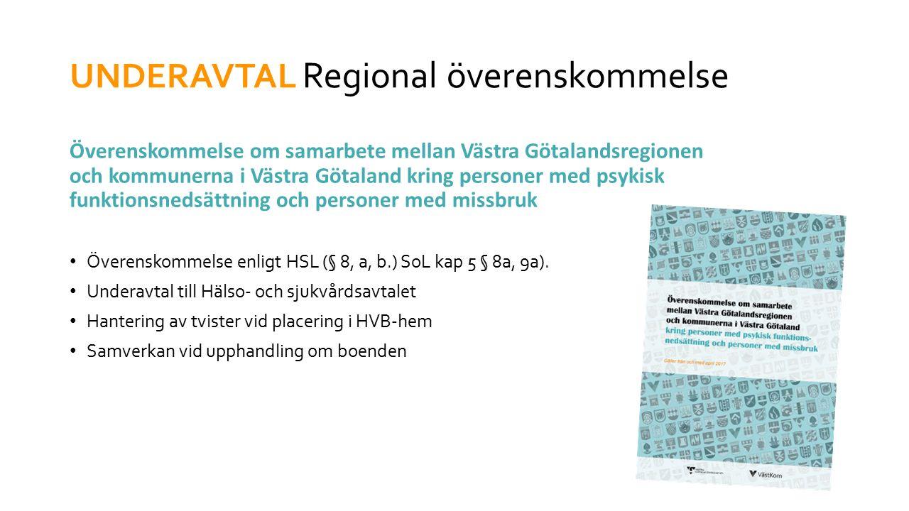 UNDERAVTAL Regional överenskommelse Överenskommelse om samarbete mellan Västra Götalandsregionen och kommunerna i Västra Götaland kring personer med psykisk funktionsnedsättning och personer med missbruk Överenskommelse enligt HSL (§ 8, a, b.) SoL kap 5 § 8a, 9a).