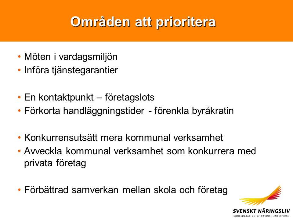 Områden att prioritera Möten i vardagsmiljön Införa tjänstegarantier En kontaktpunkt – företagslots Förkorta handläggningstider - förenkla byråkratin
