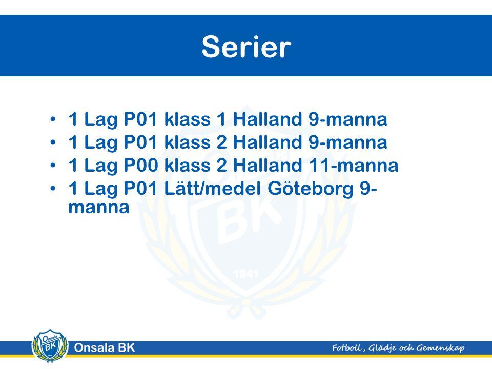 1 Lag P01 klass 1 Halland 9-manna 1 Lag P01 klass 2 Halland 9-manna 1 Lag P00 klass 2 Halland 11-manna 1 Lag P01 Lätt/medel Göteborg 9- manna Serier