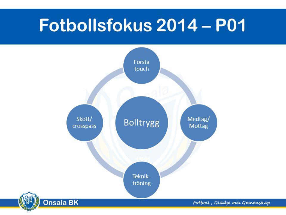 Onsala BK Fotbollsfokus 2014 – P01 Bolltrygg Första touch Medtag/ Mottag Teknik- träning Skott/ crosspass