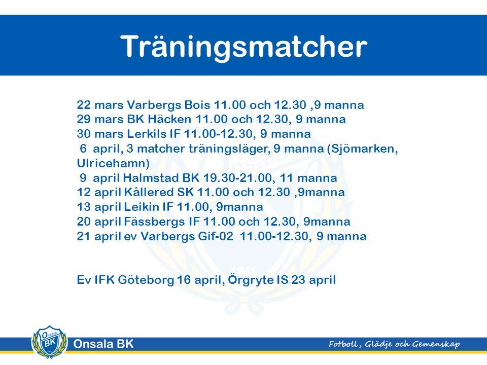 Träningsmatcher 22 mars Varbergs Bois 11.00 och 12.30,9 manna 29 mars BK Häcken 11.00 och 12.30, 9 manna 30 mars Lerkils IF 11.00-12.30, 9 manna 6 april, 3 matcher träningsläger, 9 manna (Sjömarken, Ulricehamn) 9 april Halmstad BK 19.30-21.00, 11 manna 12 april Kållered SK 11.00 och 12.30,9manna 13 april Leikin IF 11.00, 9manna 20 april Fässbergs IF 11.00 och 12.30, 9manna 21 april ev Varbergs Gif-02 11.00-12.30, 9 manna Ev IFK Göteborg 16 april, Örgryte IS 23 april