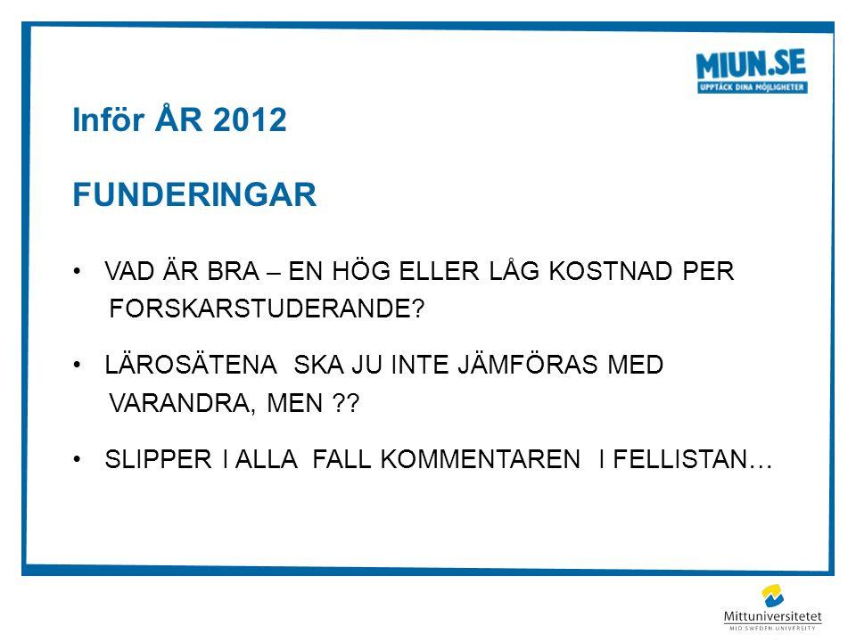 Inför ÅR 2012 FUNDERINGAR VAD ÄR BRA – EN HÖG ELLER LÅG KOSTNAD PER FORSKARSTUDERANDE.