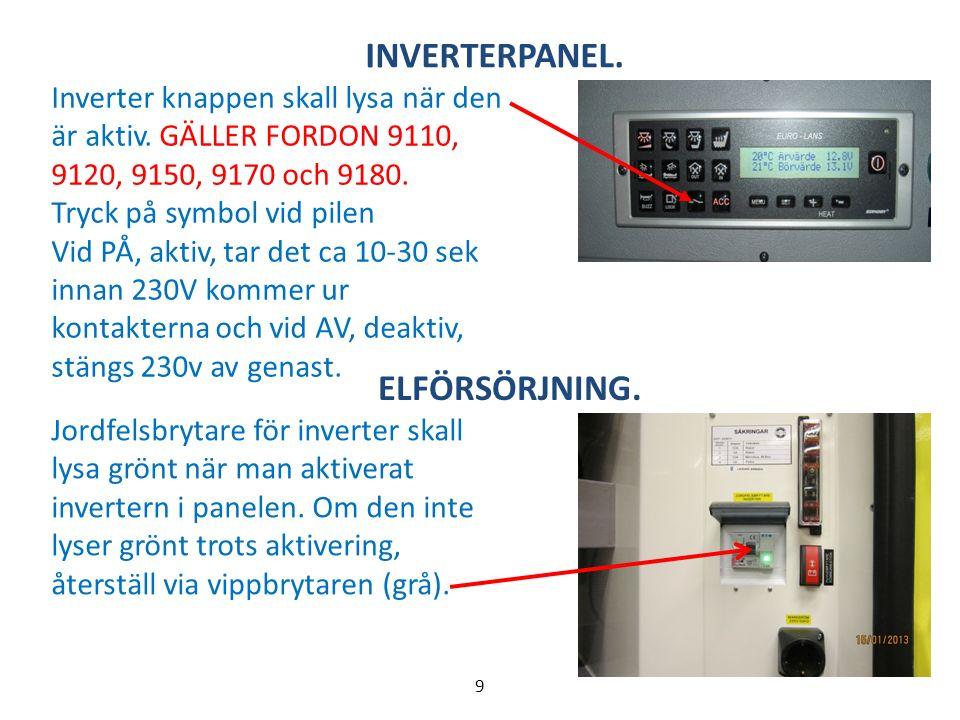 ELFÖRSÖRJNING. Jordfelsbrytare för inverter skall lysa grönt när man aktiverat invertern i panelen.
