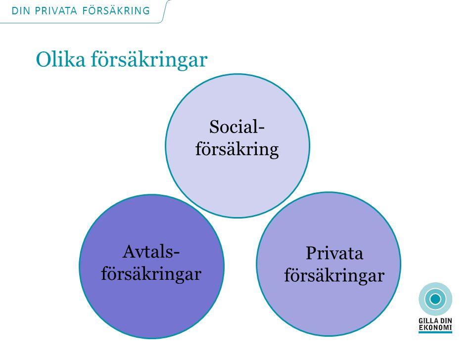 Olika försäkringar Social- försäkring Avtals- försäkringar Privata försäkringar DIN PRIVATA FÖRSÄKRING