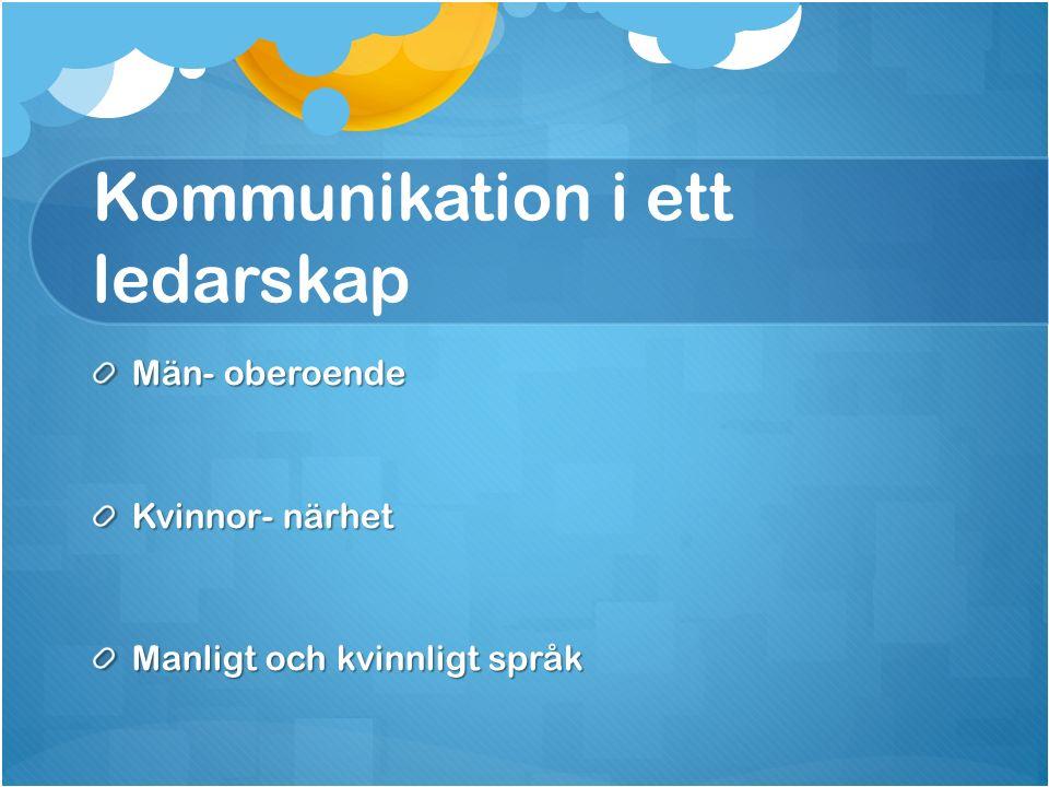 Kommunikation i ett ledarskap Män- oberoende Kvinnor- närhet Manligt och kvinnligt språk
