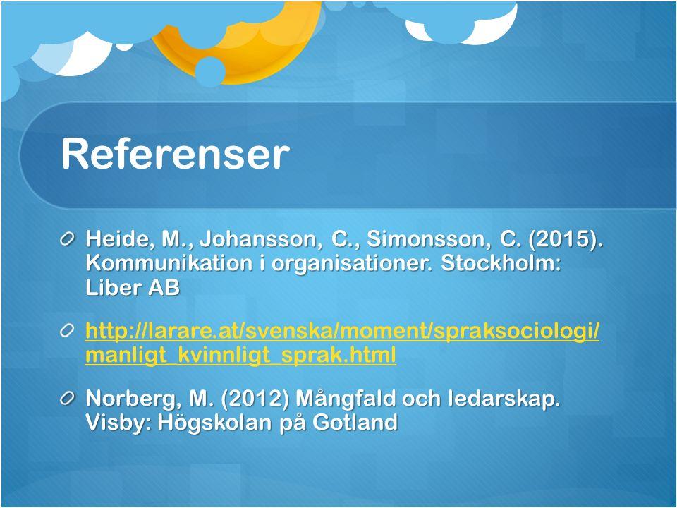 Referenser Heide, M., Johansson, C., Simonsson, C.