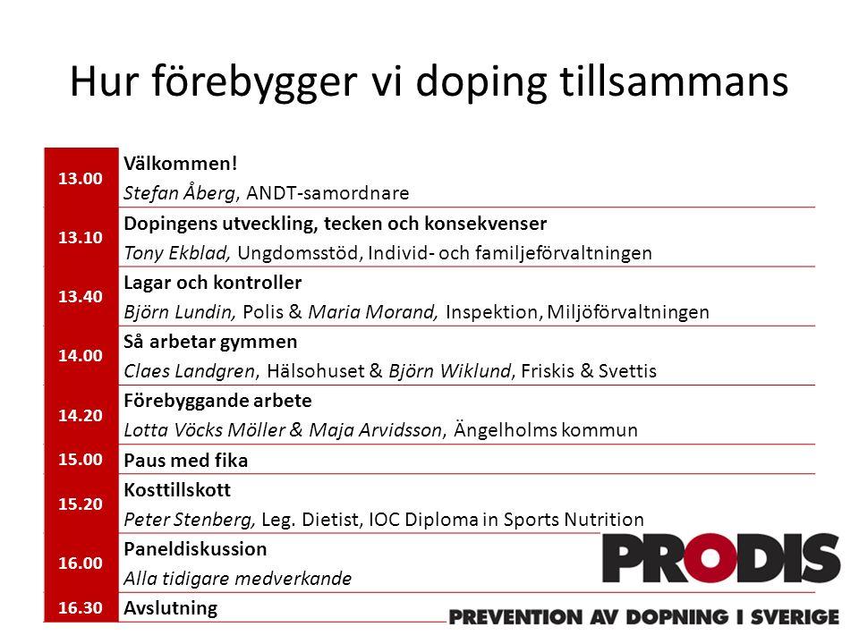 Hur förebygger vi doping tillsammans 13.00 Välkommen.