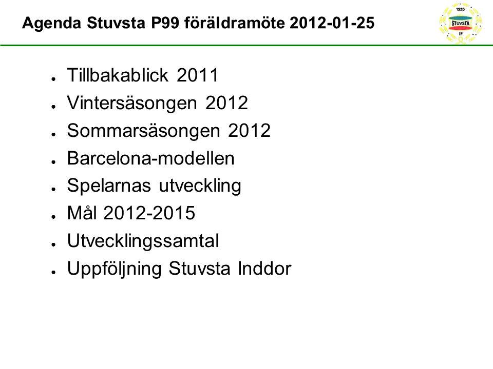 Agenda Stuvsta P99 föräldramöte 2012-01-25 ● Tillbakablick 2011 ● Vintersäsongen 2012 ● Sommarsäsongen 2012 ● Barcelona-modellen ● Spelarnas utvecklin