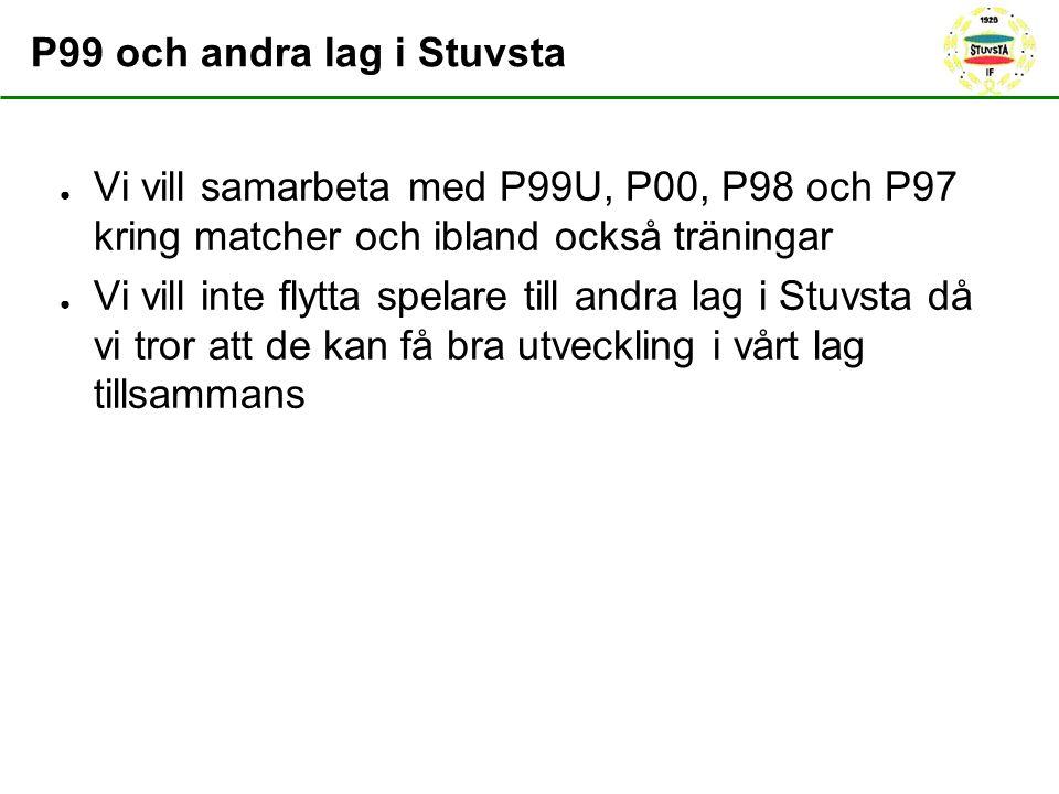 P99 och andra lag i Stuvsta ● Vi vill samarbeta med P99U, P00, P98 och P97 kring matcher och ibland också träningar ● Vi vill inte flytta spelare till