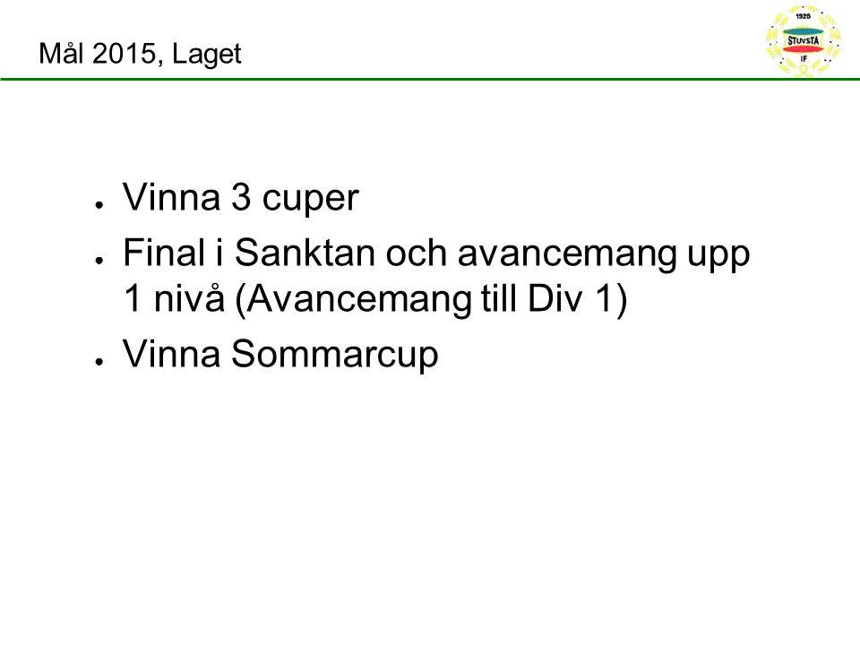 Mål 2015, Laget ● Vinna 3 cuper ● Final i Sanktan och avancemang upp 1 nivå (Avancemang till Div 1) ● Vinna Sommarcup