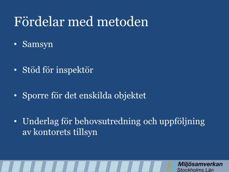 Fördelar med metoden Samsyn Stöd för inspektör Sporre för det enskilda objektet Underlag för behovsutredning och uppföljning av kontorets tillsyn