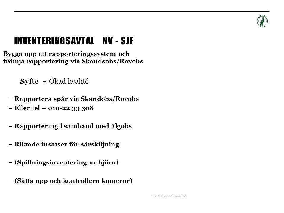 INVENTERINGSAVTAL NV - SJF Bygga upp ett rapporteringssystem och främja rapportering via Skandsobs/Rovobs Syfte = Ökad kvalité – Rapportera spår via S