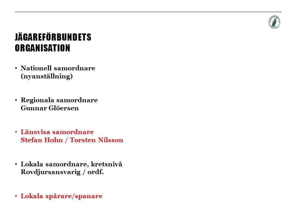 JÄGAREFÖRBUNDETS ORGANISATION Nationell samordnare (nyanställning) Regionala samordnare Gunnar Glöersen Länsvisa samordnare Stefan Holm / Torsten Nilsson Lokala samordnare, kretsnivå Rovdjursansvarig / ordf.