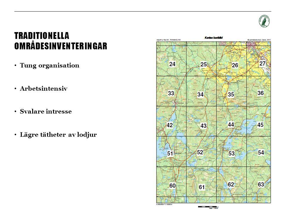 TRADITIONELLA OMRÅDESINVENTERINGAR Tung organisation Arbetsintensiv Svalare intresse Lägre tätheter av lodjur