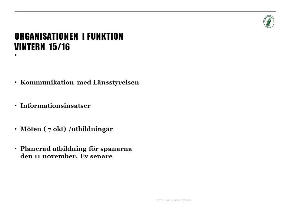 ORGANISATIONEN I FUNKTION VINTERN 15/16 Kommunikation med Länsstyrelsen Informationsinsatser Möten ( 7 okt) /utbildningar Planerad utbildning för spanarna den 11 november.