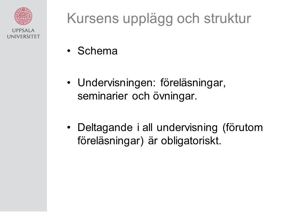 Kursens upplägg och struktur Schema Undervisningen: föreläsningar, seminarier och övningar.