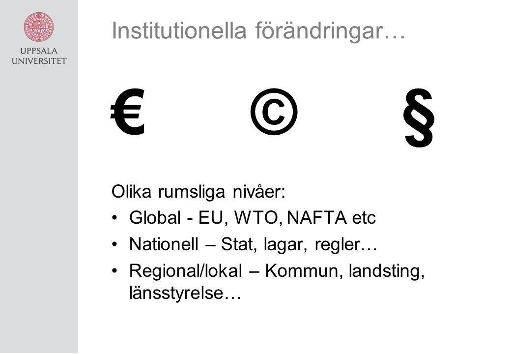 Institutionella förändringar… € © § Olika rumsliga nivåer: Global - EU, WTO, NAFTA etc Nationell – Stat, lagar, regler… Regional/lokal – Kommun, landsting, länsstyrelse…